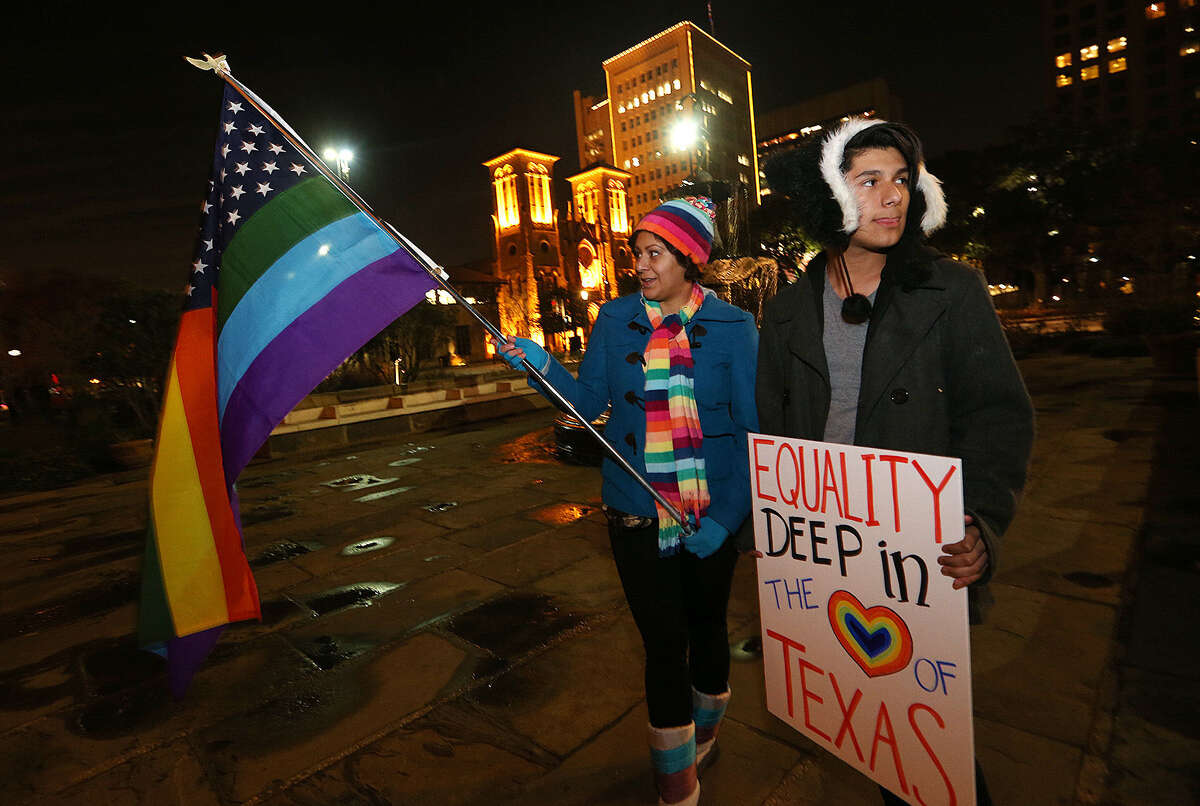 Minda Tovar and her son, Gavyn Rodriguez, were among the supporters of same-sex marriage who gathered to celebrate at the Bexar County Courthouse.