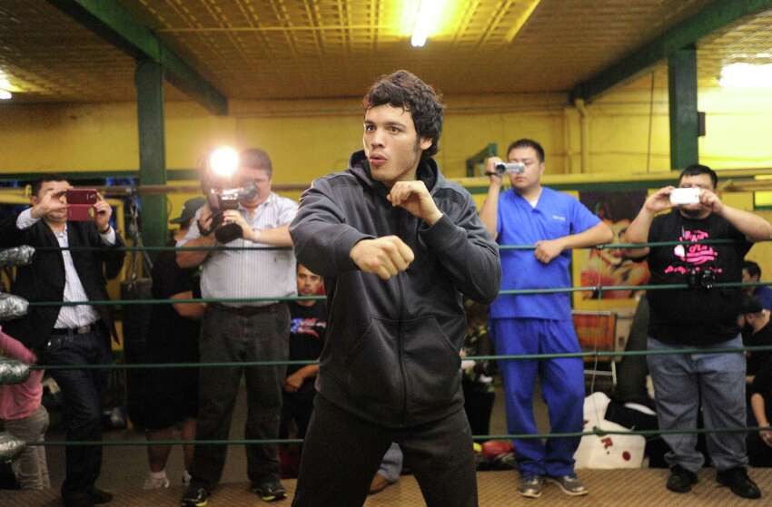 Julio Cesar Chavez Jr. works out on Tuesday, Feb. 25, 2014, at Zarzamora Street Gym in preparation for his rematch with Bryan Vera in the Alamodome on Saturday.