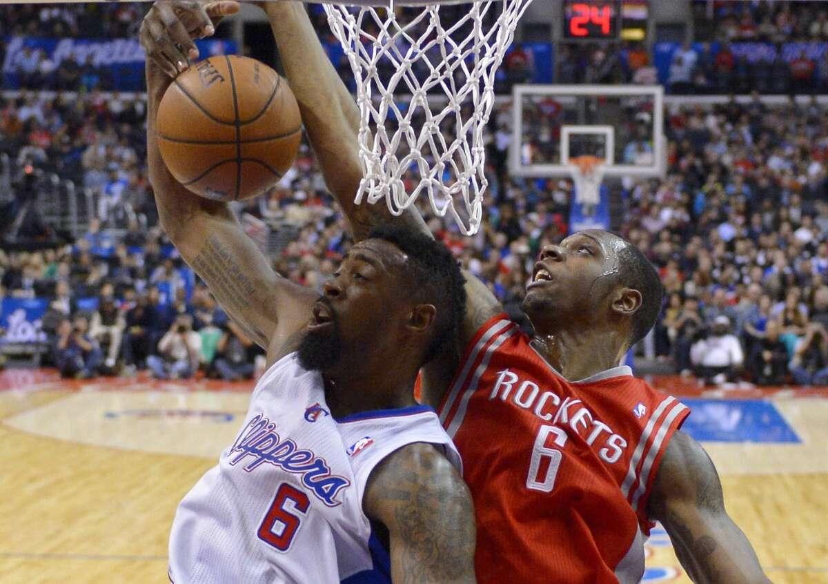 Feb. 27: Clippers 101, Rockets 93 Clippers center DeAndre Jordan, left, and Rockets forward Terrence Jones battle for a rebound.