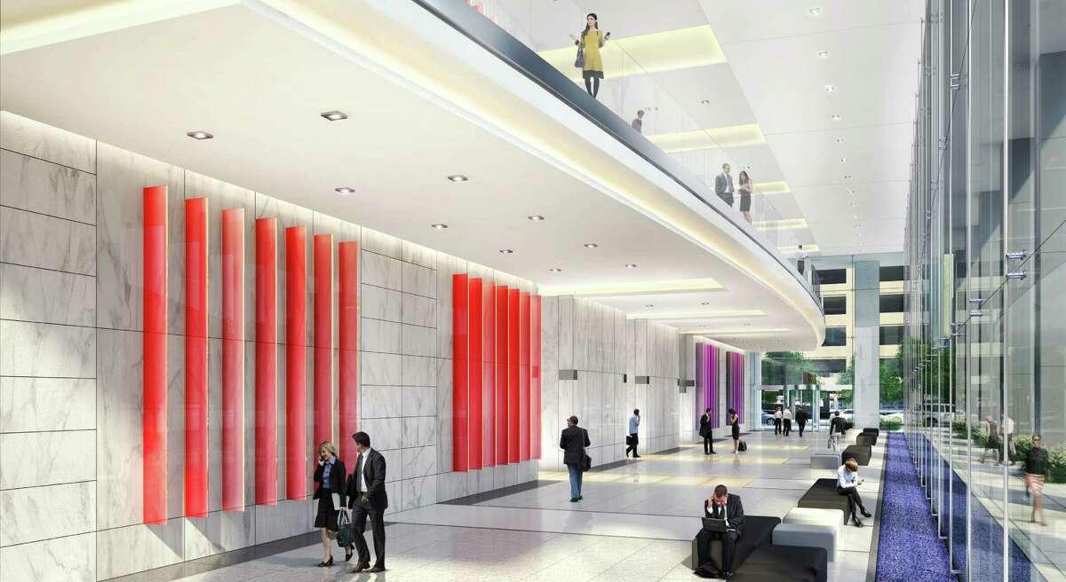 Rendering of 6 Houston Center, Lobby interior HKS Architects, courtesy of Crescent