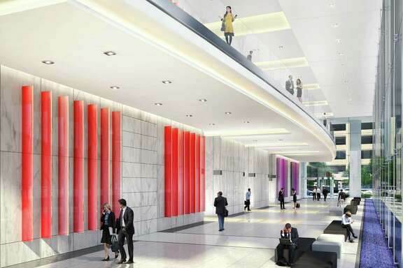 Rendering of 6 Houston Center, Lobby interior HKS Architects, courtesy of Crescent