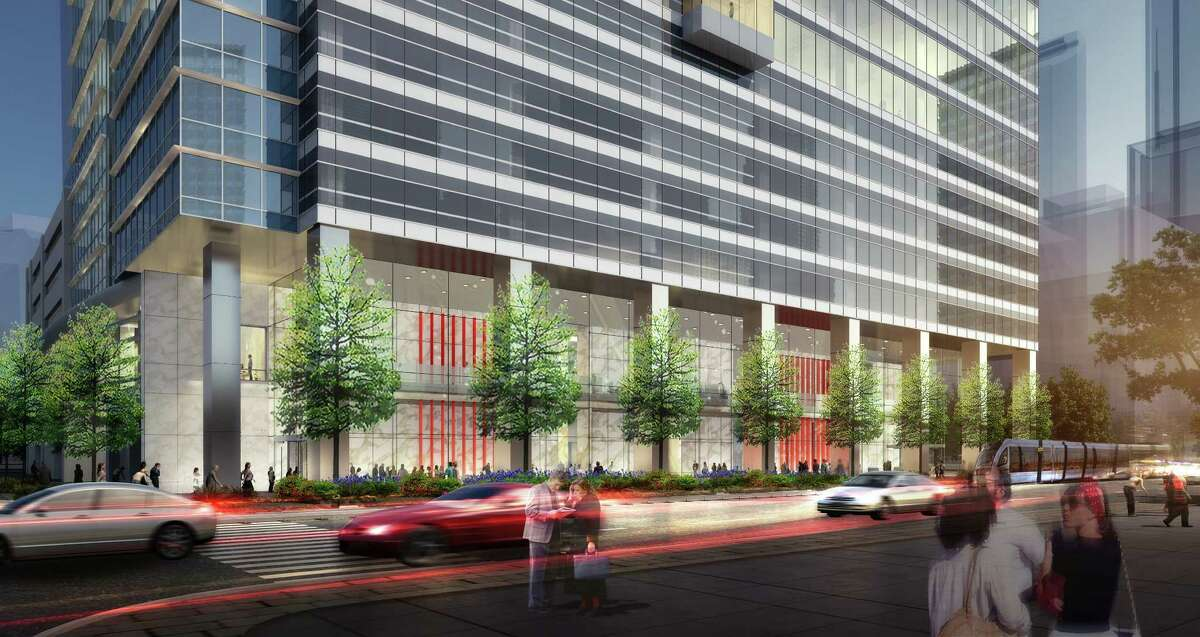 Rendering of 6 Houston Center, lobby exterior view HKS Architects, courtesy of Crescent