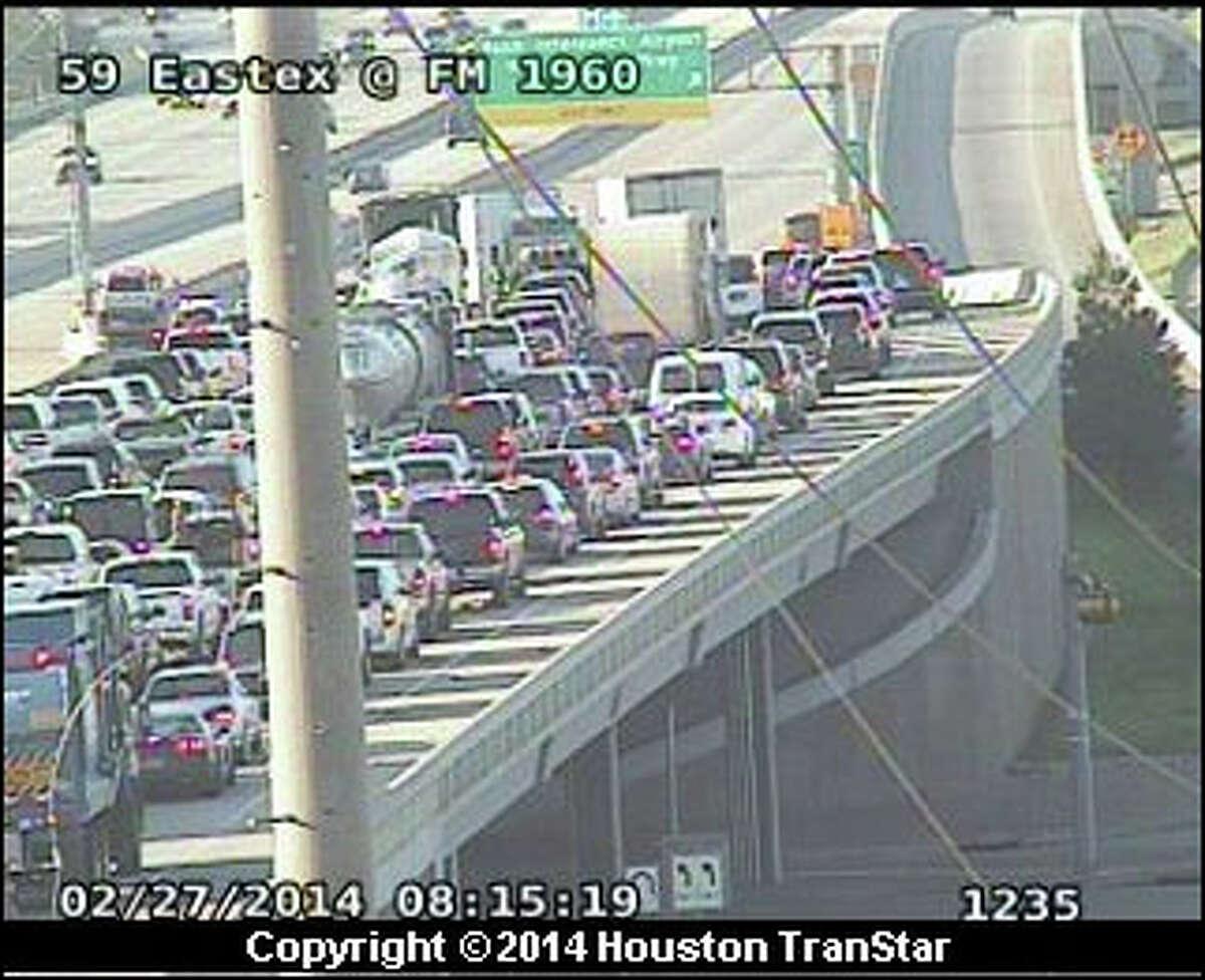 Inbound Eastex Freeway was shut down near FM 1960 about 8 a.m. after a two-car crash, according to Houston TranStar.