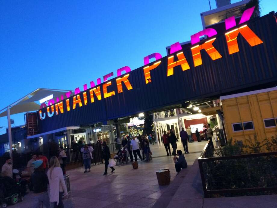 The newish Downtown Container Park is an outdoor dining-shopping-entertainment center on East Fremont Street, made mostly from more than 70 shipping containers and modular cubes. Photo: Spud Hilton, Bad Latitude
