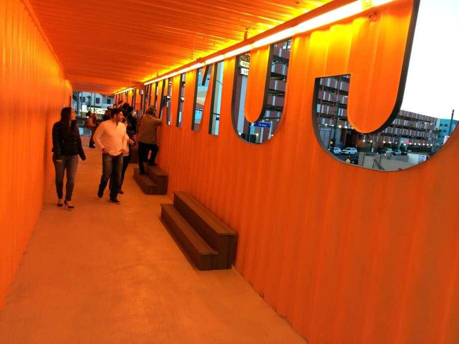 Visitors get a view from inside the container that is the Container Park sign. Photo: Spud Hilton, Bad Latitude