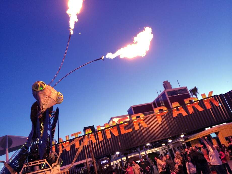 A flame-shooting praying mantis on top of an art car is among the temporary displays that will appear throughout the year. Photo: Spud Hilton, Bad Latitude