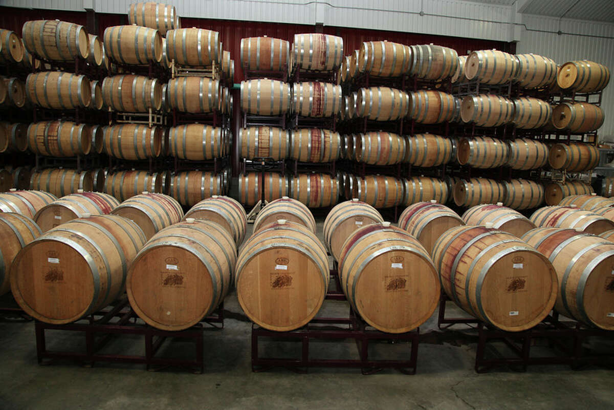 Barrels at Becker Vineyards