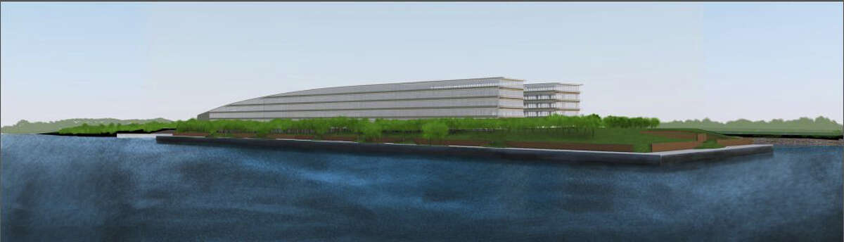 Architectural rendering showing the proposed 850,000-square-foot office building to house hedge fund Bridgewater Associates on the 14-acre site of a former boatyard in Stamford's South End.