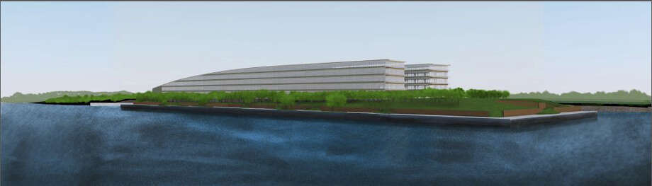 Architectural rendering showing the proposed 850,000-square-foot office building to house hedge fund Bridgewater Associates on the 14-acre site of a former boatyard in Stamford's South End. Photo: Contributed Photo / Stamford Advocate Contributed