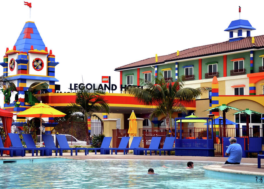 The Legoland Hotel, which opened in 2013, includes 250 rooms on three levels and a pool. Photo: Christopher Reynolds, MBR / Los Angeles Times