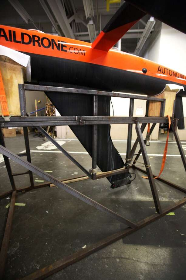 A completed saildrone with the acoustic sensor capable of picking up the signal off of tagged Great White Sharks when it's out in the ocean, now it sits at the saildrone workshop in Alameda Calif. Photo: Deborah Svoboda, The Chronicle