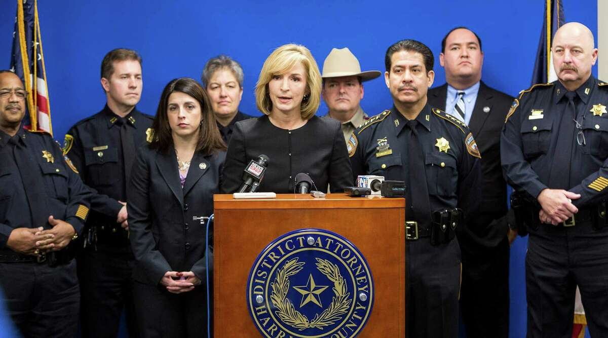 """Harris County District Attorney Devon Anderson and Sheriff Adrian Garcia on right talk to the media about an upcoming """"no refusal"""" weekend in this Feb. 27, 2014 file photo. A ruling from an appeal court may mean the end of """"no refusal weekends."""""""