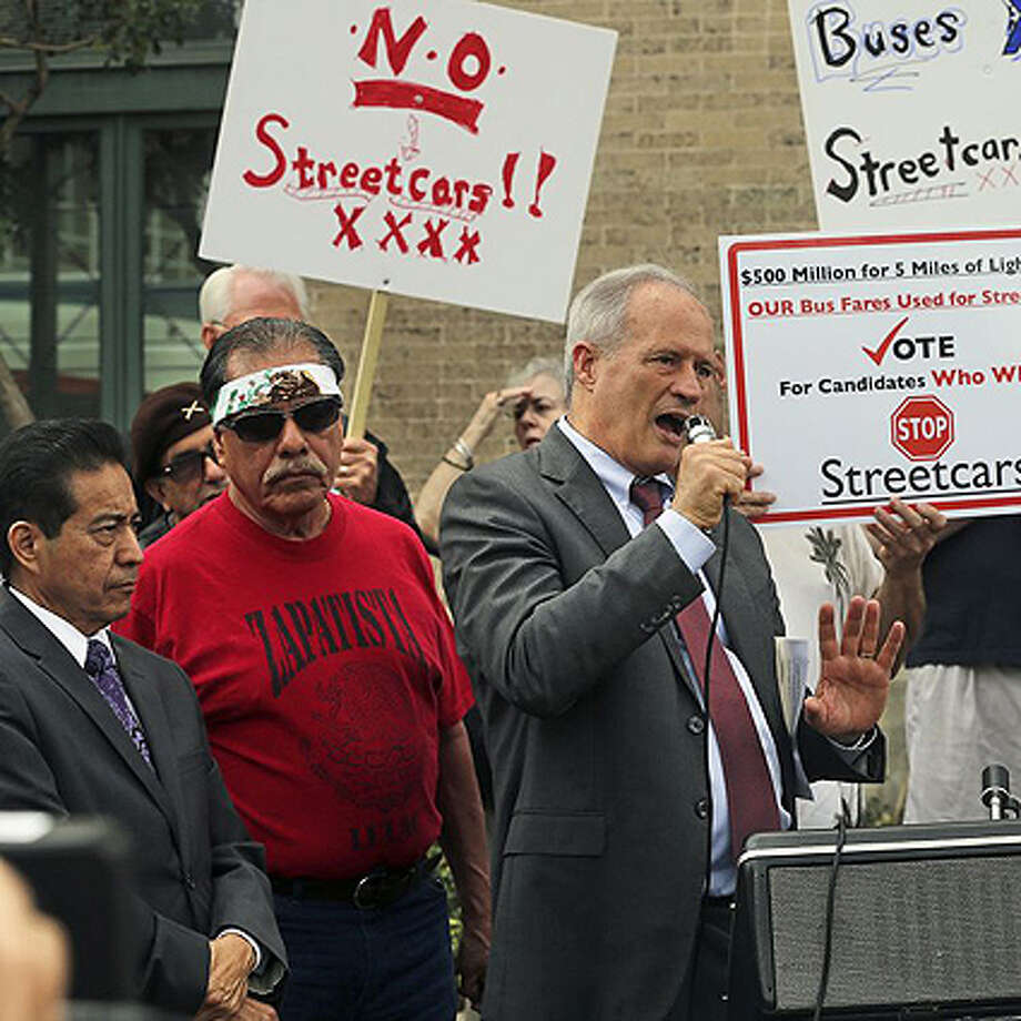Tommy Adkisson, who is running for county judge, speaks at a press conference Tuesday at the Westside Multimodal Transit Center. Adkinsson said he supports putting the streetcar project on the November ballot. Photo: Benjamin Olivo, MySA.com