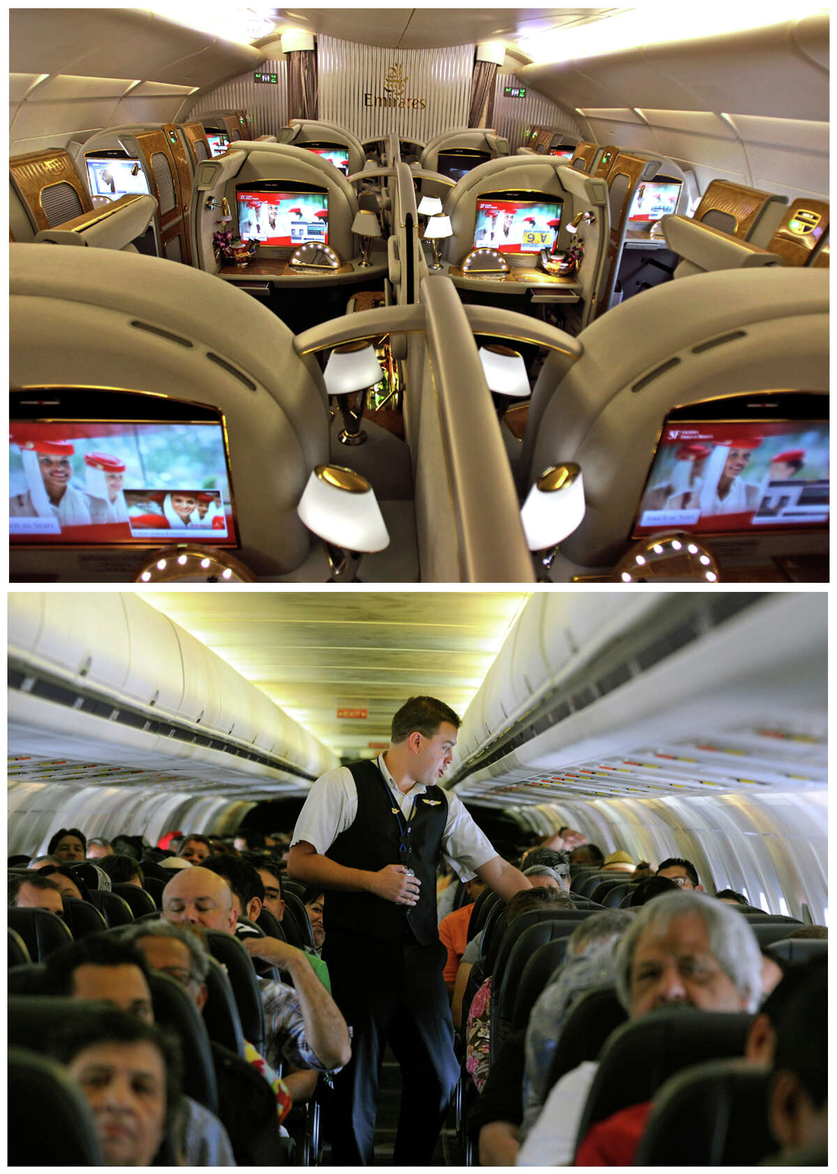 This combination of Associated Press file photos show, on top, the first class section of an Emirates airlines Airbus A380 at the new Concourse A of Dubai airport in Dubai, United Arab Emirates in 2013, and on the bottom, Allegiant Air flight attendant Chris Killian preparing his passengers for the Laredo, Tex, bound flight before it pushes back from the terminal at McCarran International Airport in Las Vegas, in 2013. When Emirates Airline opened a new concourse at its home airport in Dubai last year, it made sure to keep coach passengers separate from those in business and first class. The top floor of the building is a lounge for premium passengers with direct boarding to the upstairs of Emirates' fleet of double-decker Airbus A380s. Those in coach wait one story below and board to the lower level or the plane.