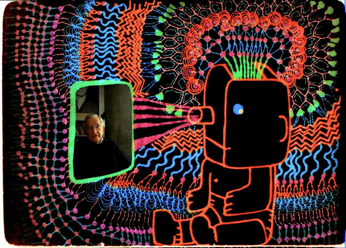"""A scene from """"Is the Man Who Is Tall Happy?"""" In the unconventional documentary, director Michel Gondry uses animation to explore the ideas of the linguist and philosopher Noam Chomsky. (Sundance Selects via The New York Times)"""