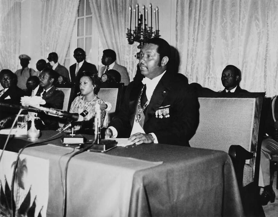 Haitian President Jean-Claude Duvalier, son of former dictator Francois Duvalier, delivers a speech in 1976 at the presidential Palace in Port-au-Prince. He lived an extravagant lifestyle while ruling over one of the poorest countries in the world.  Photo: Afp, AFP/Getty Images