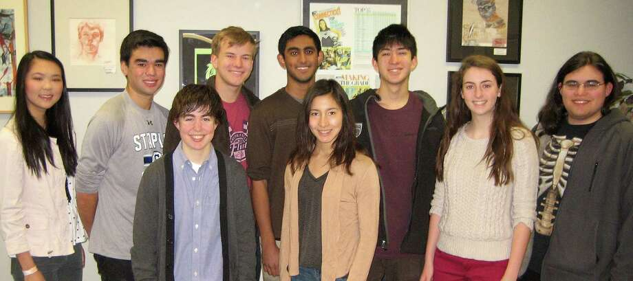 Nine Staples High School, students have been named finalists in the 2014 National Merit Scholarship program. They are, back row from left: Katherine Zhou, Steven Sobel, Charles Jersey, Mrinal Kumar, Sarah Fox and Ben Goldschlager; front row: Warren Schorr, Amanda Mezoff and Eliza Llewellyn. Photo: Contributed Photo / Westport News contributed