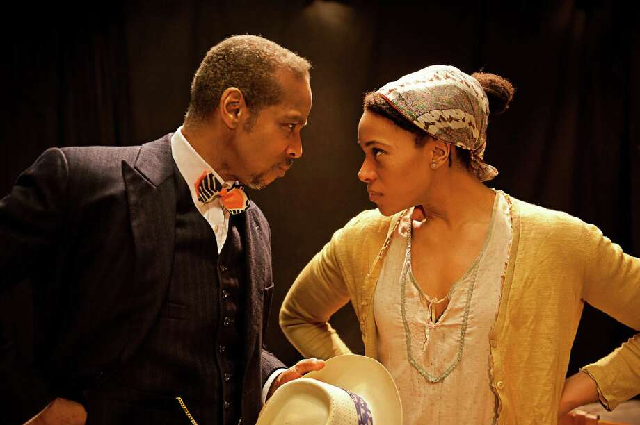 "Kevyn Morrow and Geri-Nikole Love are the stars of a new adaptation of George Bernard Shaw's ""Pygmalion"" - ""Higgins in Harlem"" - that is being presented at Playhouse on Park in West Hartford through March 23. Photo: Contributed Photo / Connecticut Post Contributed"