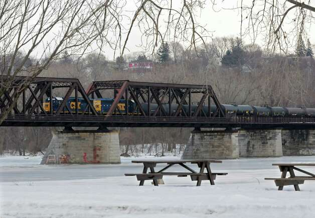 A CSX train crosses the Livingson Ave. Bridge Thursday, Feb. 27, 2014, in Albany, N.Y.  (Lori Van Buren / Times Union) Photo: Lori Van Buren / 00025939A