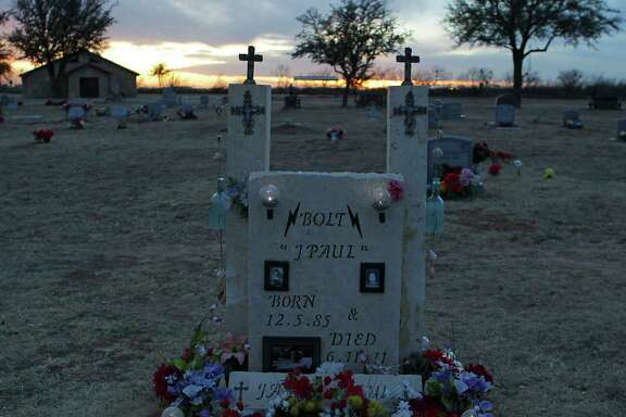 The grave site of Jason Bolt at Mount Olive Cemetery, Bolt and Sandy Daves were both killed in a drilling rig accident in June of 20111, Monday, Feb. 17, 2014, in Big Spring.  For Lise Olsen Oil Patch Deaths -- Day 2
