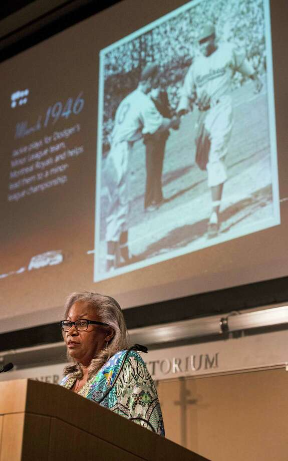 Sharon Robinson, daughter of baseball legend Jackie Robinson speaking at the University of Connecticut Stamford, CT branch as part of their 10th Annual Black History Month Celebration, on Thursday, February,27th, 2014. Photo: Mark Conrad / Connecticut Post Freelance