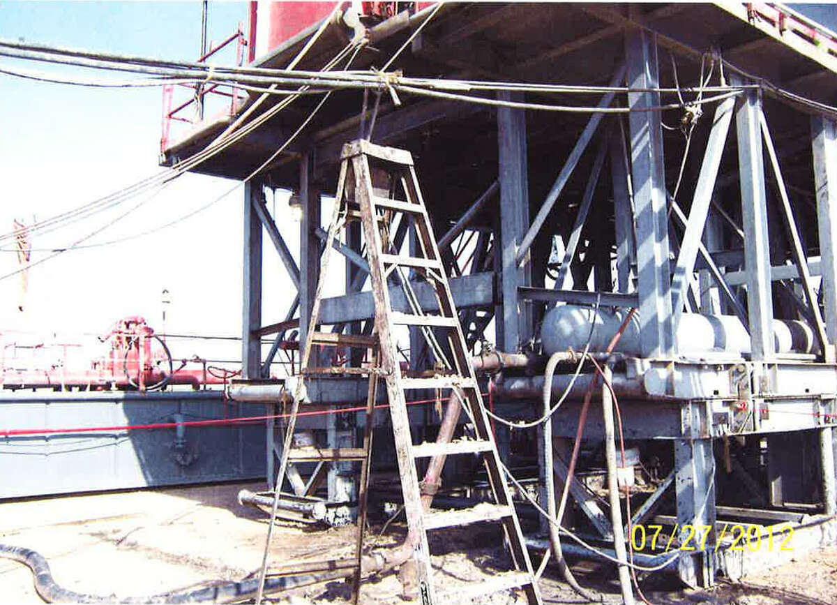 This photo is of a Robinson Drilling rig site near Big Lake, Texas; this is the ladder where Chase Dillon was standing when he was fatally injured while using a knife to cut a piece of rope that held electrical cables to the rig. He was shocked and died from injuries he received when he fell from the ladder. Photos: Reagan County Sheriff's Office. For Lise Olsen Oil Patch Deaths -- Day 2.