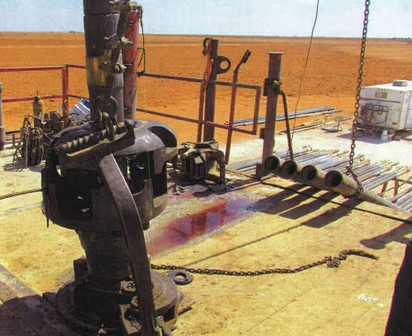 Blood is on the floor where Sandy Davis and Jason Bolt worked and were killed in West Texas at a Robinson Drilling rig. A piece of drilling machinery that had been complained about previously broke apart and struck the two workers. Photo: Clay Dugas And Associates / Clay Dugas and Associates