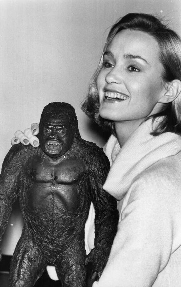 """Actress Jessica Lange with the model of King Kong, at the time she was playing Dawn in the film """"King Kong."""" Photo: Keystone, Getty Images"""