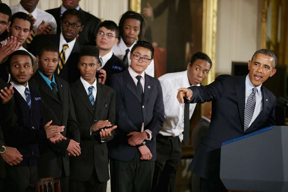 President Obama introduces his My Brother's Keeper initiative with students from the Hyde Park Academy. Photo: Chip Somodevilla, Getty Images