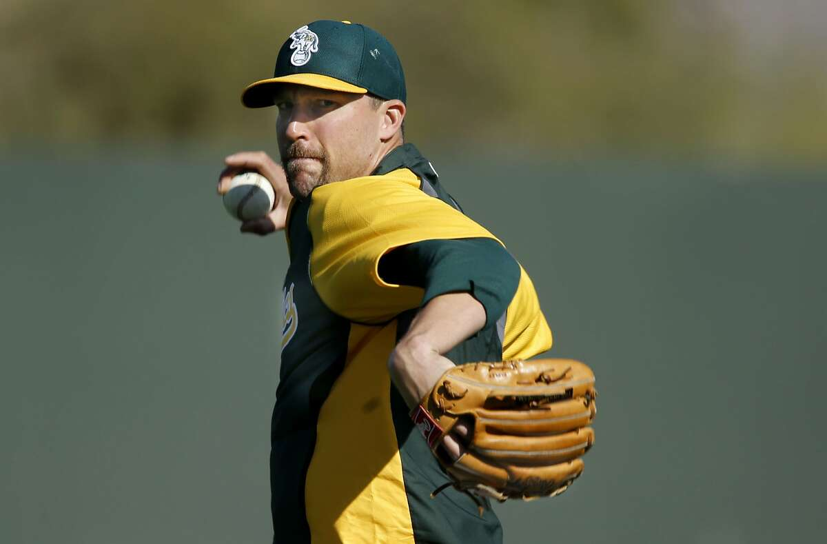 A's pitcher Jim Johnson, (45) throws warm up pitches during practice at the Papago Baseball facility in Phoenix, Arizona on Saturday Feb. 22, 2014. The Oakland Athletics continue their spring training schedule in the Arizona desert in preparation for the 2014 MBL season.
