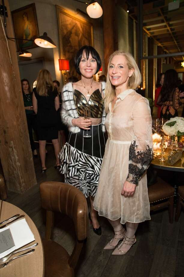 SFMOMA patrons Christine Suppes (in Rodarte) and Joni Binder (in Valentino) at the private dinner at the Battery social club. Photo: Drew Altizer