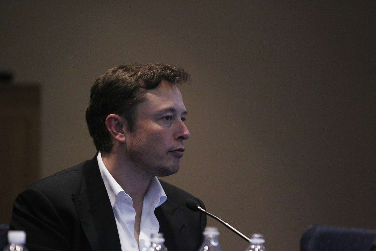 Elon Musk, co-founder and CEO of Tesla and founder and CEO of Space Exploration Technologies, speaks on a panel during a California Public Utilities Commission Thought Leader session in the CPUC Auditorium on Thursday, February 27, 2014 in San Francisco, Calif.