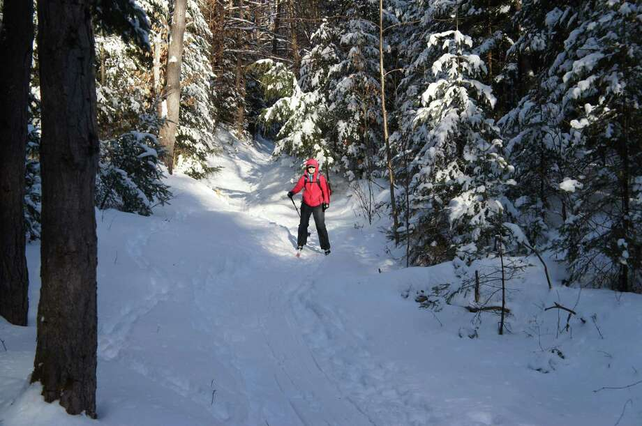 Outdoors writer Gillian Scott skis the Pharaoh Lake trail during a recent outing. She considers this one of the easier backcountry ski trips in the Adirondacks, and enjoys the quiet of the largest, motorless lake in New York state.  Read more about her trip.