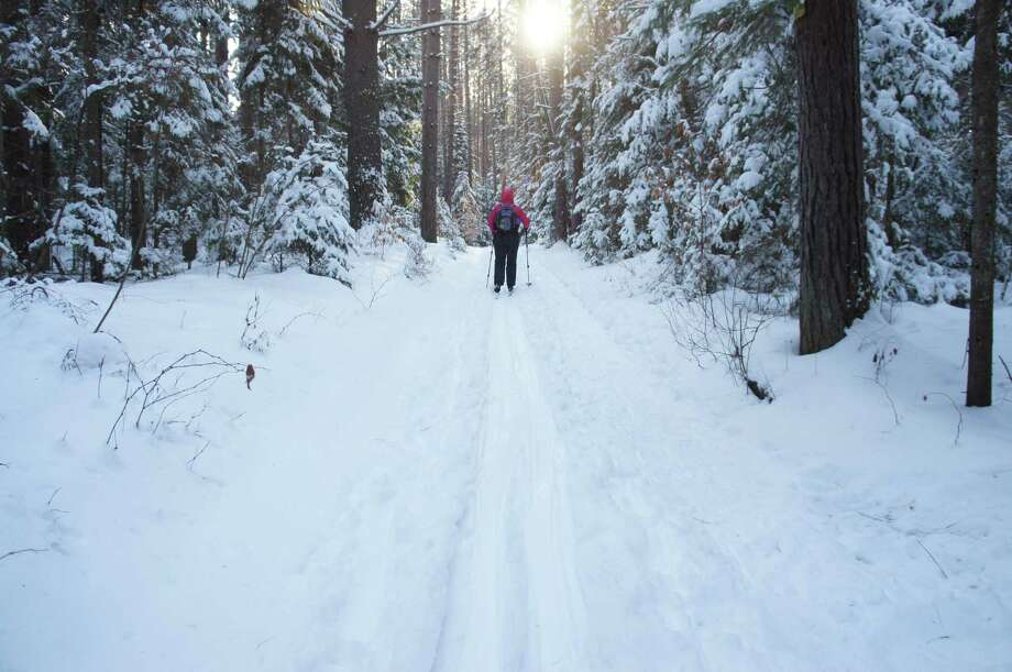 Outdoors writer Gillian Scott skis the Pharaoh Lake trail during a recent outing.  Read more about the ski trip to Pharaoh Lake.