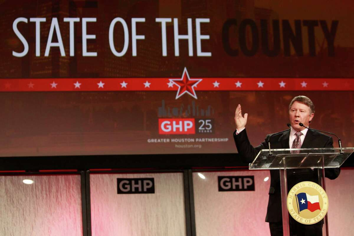 Harris County Judge Ed Emmett makes a case for some city-county mergers Thursday during his Greater Houston Partnership State of the County address.