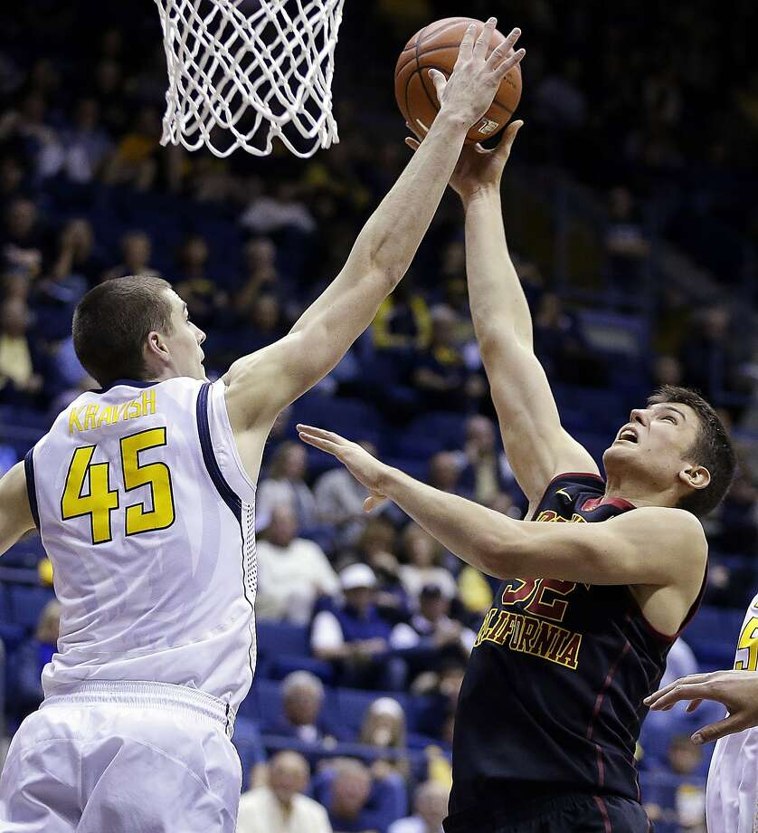 California's David Kravish (45) blocks the shot of Southern California's Nikola Jovanovic, right, in the second half of an NCAA college basketball game, Sunday, Feb. 23, 2014, in Berkeley, Calif. (AP Photo/Ben Margot) Photo: Ben Margot, Associated Press