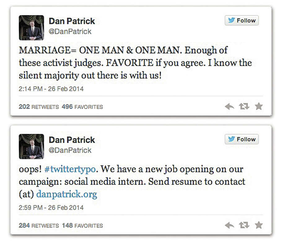 "Screenshot of Dan Patrick tweet typo on ""MARRIAGE = ONE MAN & ONE MAN"""