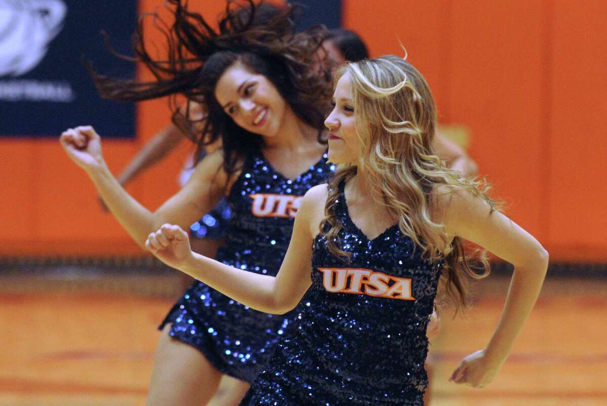 The UTSA Pom Squad performs during the North Texas at UTSA basketball game at the UTSA Convocation Center on Thursday, Feb. 27, 2014.