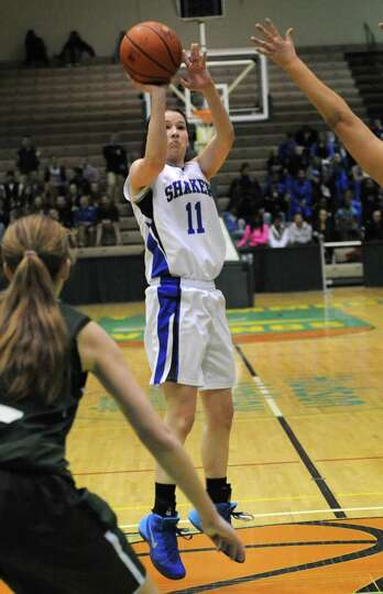 Shaker's Jenni Barra goes up for a jump shot during the Class AA girls' basketball semifinal against