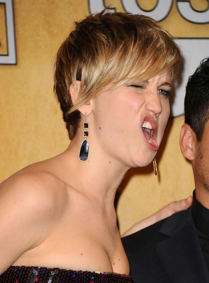 If J-Law does something weird, drink upIt's bound to happen once or twice. Every hour. Guzzle a few gulps every time Jennifer Lawrence breaks the mold. (Exhibit A: Lawrence making faces at the Screen Actors Guild Awards.) Photo: Jason LaVeris, FilmMagic