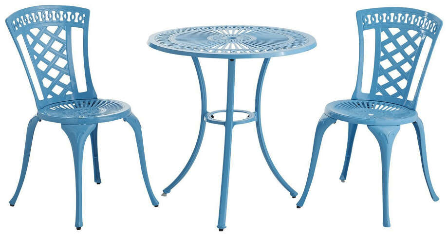 The Neely Bistro Set from Pier 1 Imports in blue adds color to a patio or small balcony. Photo: Photos Courtesy Pier 1 Imports / Pier 1 Imports