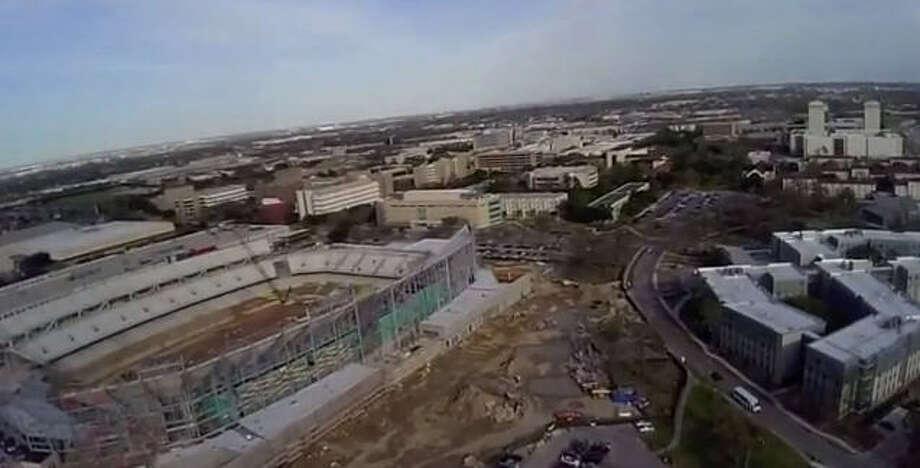 Aerial view of the UH stadium.