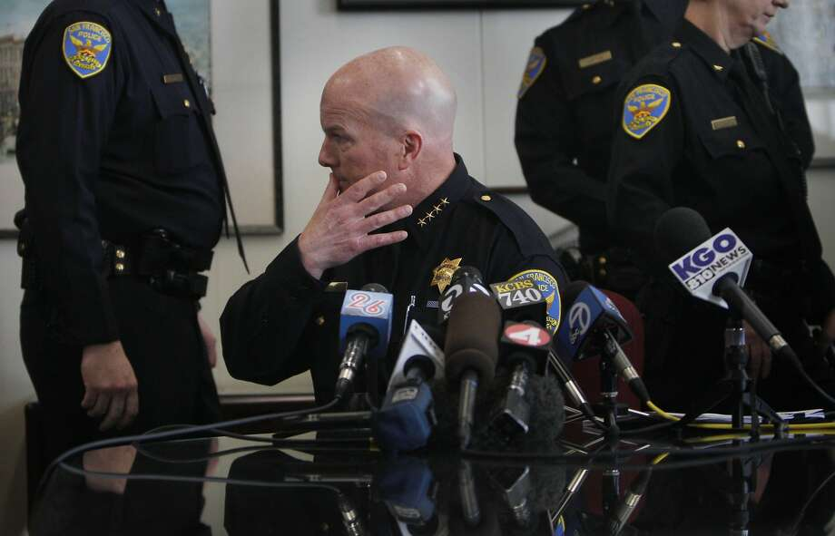 Police Chief Greg Suhr pauses before speaking at a Hall of Justice news conference on the indictments Thursday. Photo: Lea Suzuki, The Chronicle