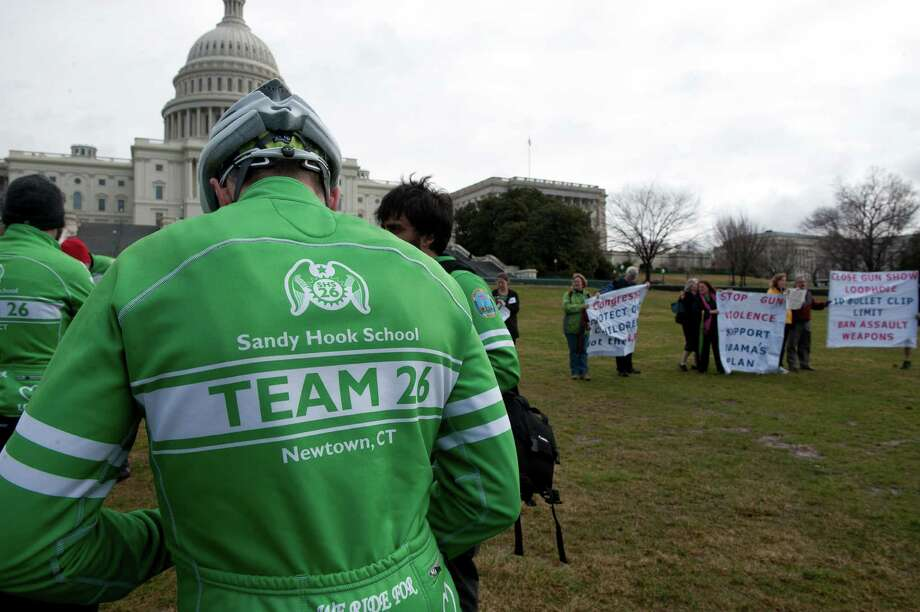 The Sandy Hook Ride on Washington was a team of 26 cyclists riding almost 400 miles from Newtown, Conn., to the Capitol in Washington, DC in support of commonsense solutions to prevent gun violence. The second edition will be from March 8 to 11. Photo: Douglas Graham, Douglas Graham/Roll Call/Getty I / © 2012 CQ Roll CallGetty Images