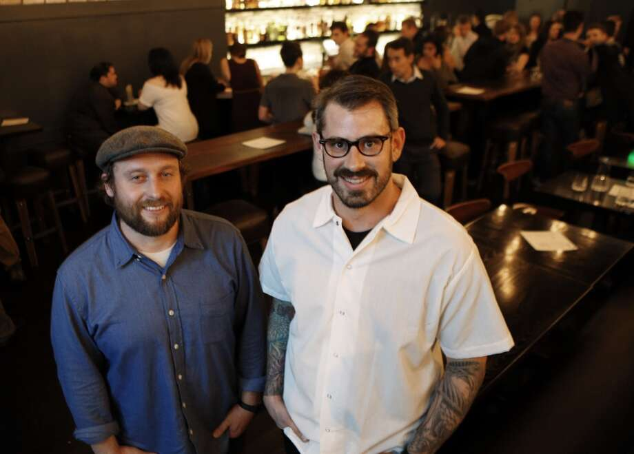 Matt McNamara, left, and Teague Moriarty, owners at The Square in San Francisco. The Square is a new restaurant set to open in the original Washington Square Bar & Grill space in North Beach. Chef/owners are Teague Moriarity and Matt McNamara of the well-reviewed Sons & Daughters. Photo: Carlos Avila Gonzalez, The Chronicle