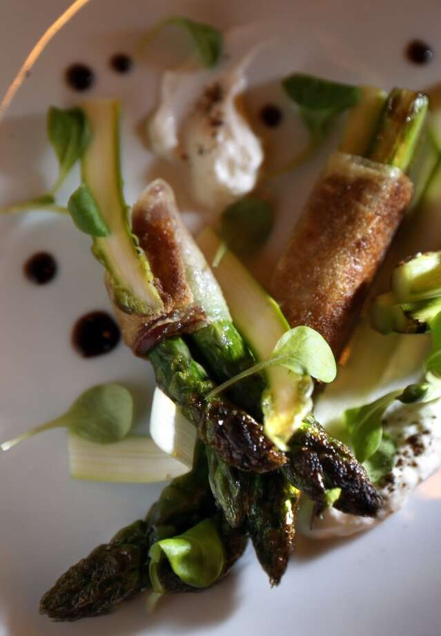 Delta Asparagus, speck and whipped whey served at The Square in San Francisco. Photo: Carlos Avila Gonzalez, The Chronicle