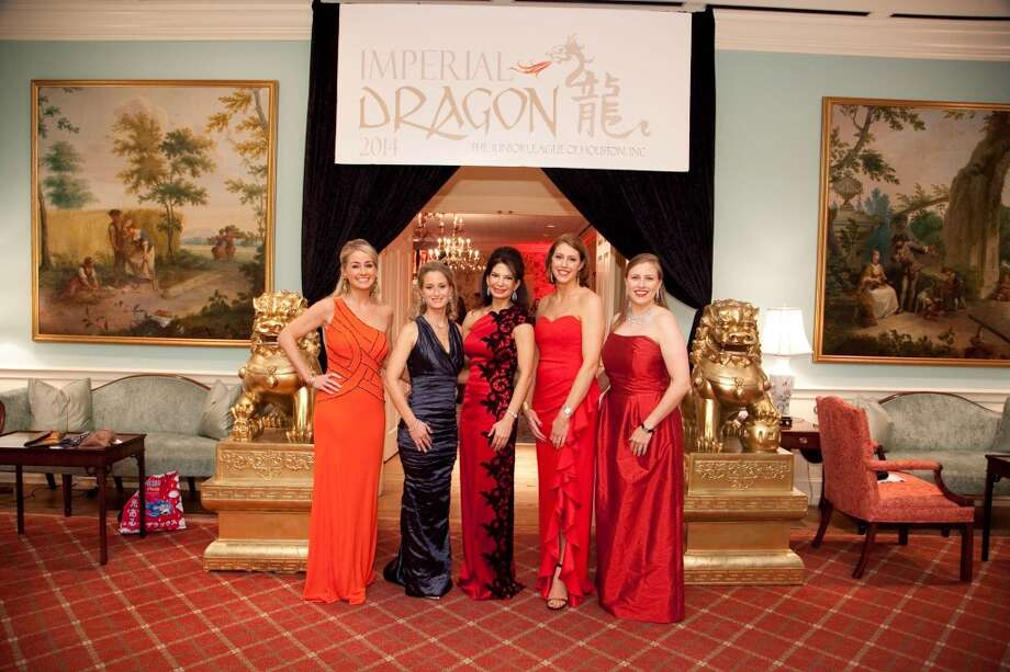 Amy Dunn, Catherine Smith, Whitney Walsh, Jennifer Daly and Katie Mears at the Imperial Dragon, the annual Charity Ball benefitting the Junior League of Houston, Feb. 8, 2014. Photo: Michael Martinez