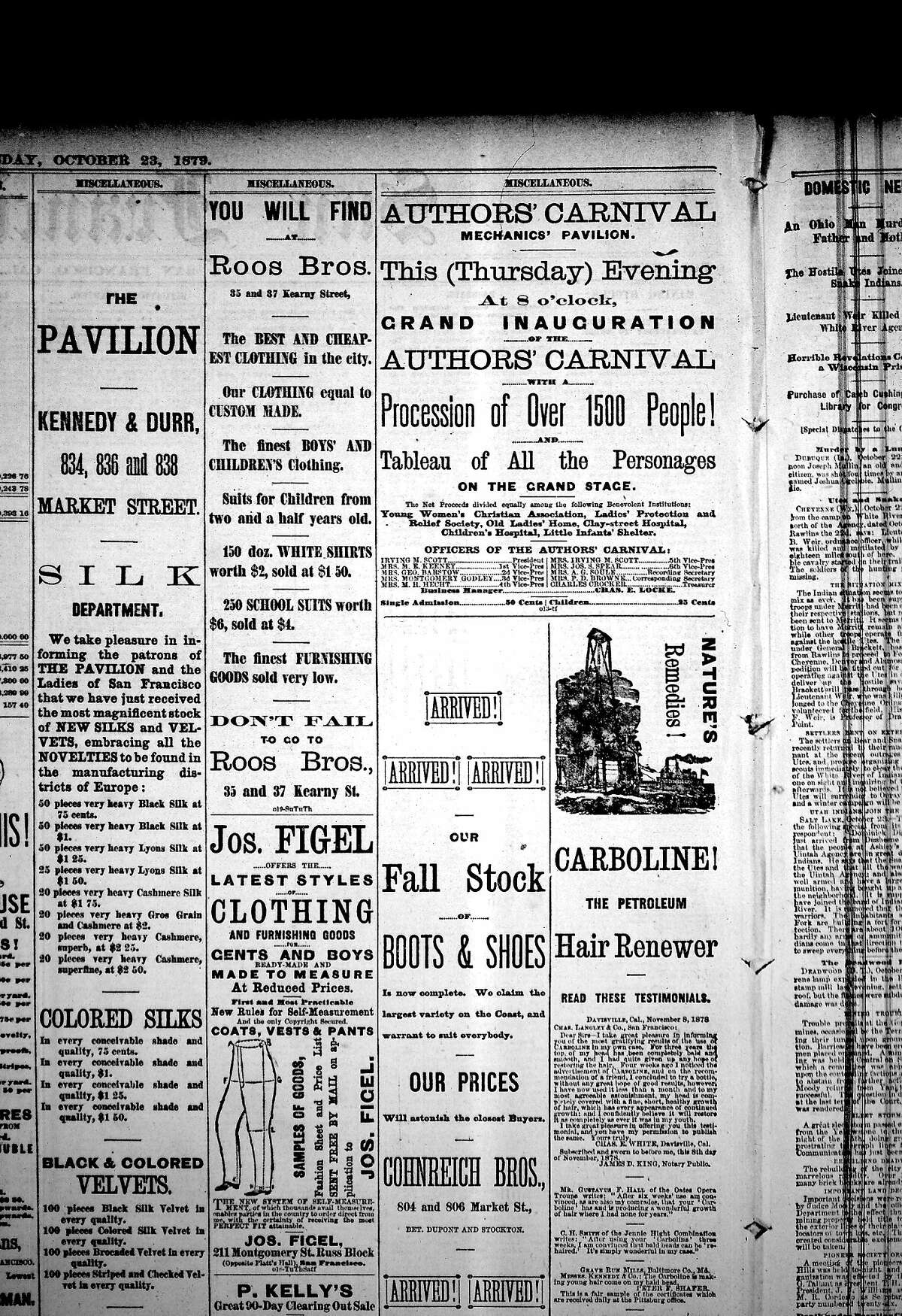 A newspaper ad from 1879 for the Authors' Carnival in San Francisco.