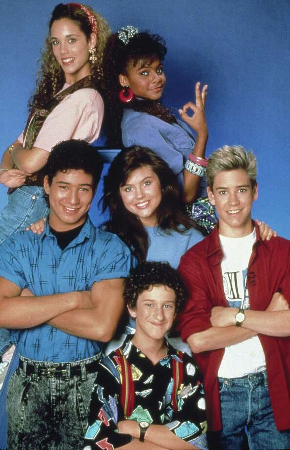 "Mark-Paul Gosselaar (front, right), who was Zack in ""Saved by the Bell,"" also turns 40 in March. (March 1, to be exact). Photo is from Season 1.  Photo: NBC, Getty Images / © NBC Universal, Inc."