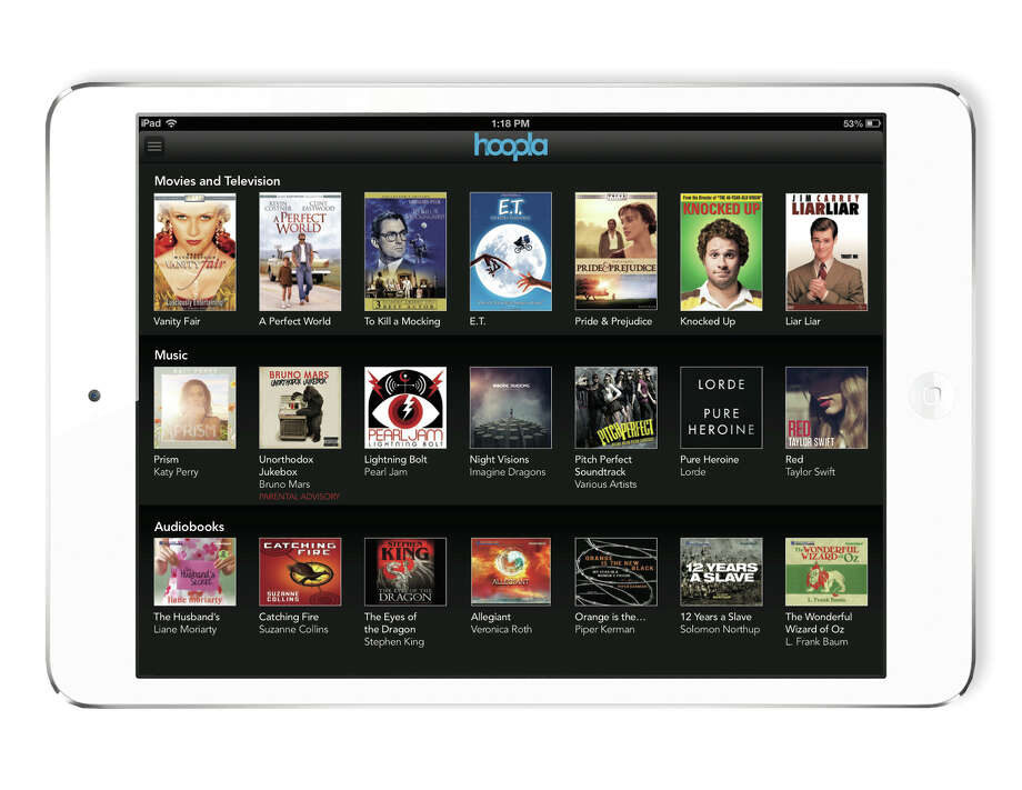 Image of hoopla digital, a service that provides patrons of participating libraries access to thousands of on-demand movies, TV shows, music and audio books. Photo: Hoopla Digital